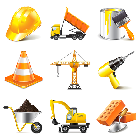 skid steer: Construction icons detailed photo realistic vector set