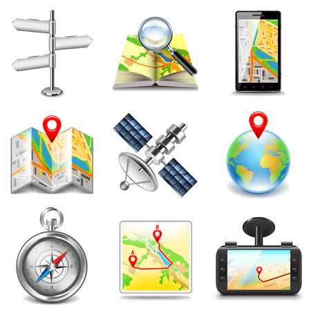 Maps and navigation icons photo realistic vector set Vector Illustration