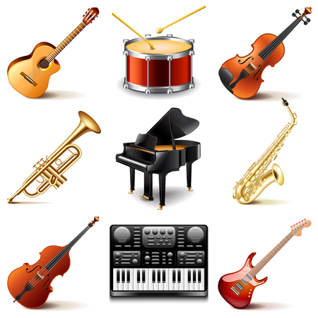 instruments: Musical instruments icons photo realistic vector set