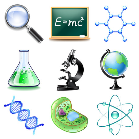 photo realistic: Science icons detailed photo realistic vector set
