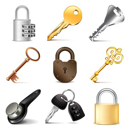 magnetic clip: Keys and locks icons detailed photo realistic vector set