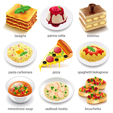 Italian food icons detailed photo realistic vector set Ilustração