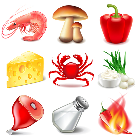 flavors: Snack or chips flavors icons detailed photo realistic vector set