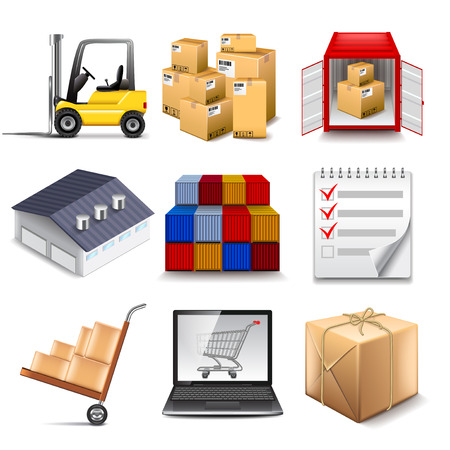 seaport: Logistics part two icons photo realistic vector set Illustration