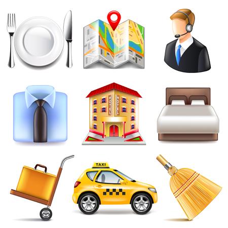 albergo: icone Hotel foto dettagliate realistici vettore set Vettoriali