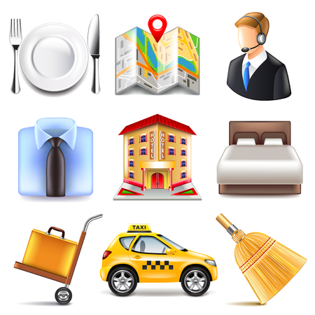 Hotel icons detailed photo realistic vector set