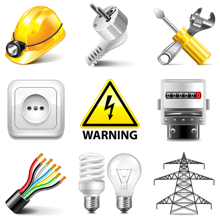 photo realistic: Electricity icons detailed photo realistic vector set