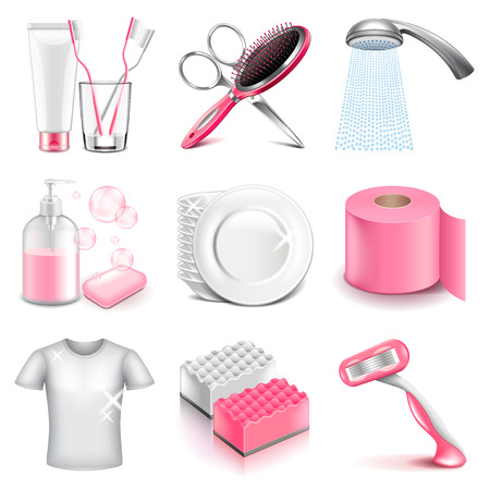 limpieza: higiene iconos foto detallada conjunto realista del vector