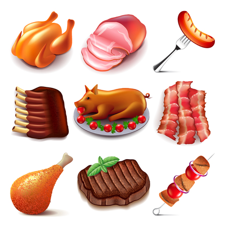 Meat food icons detailed photo realistic vector set