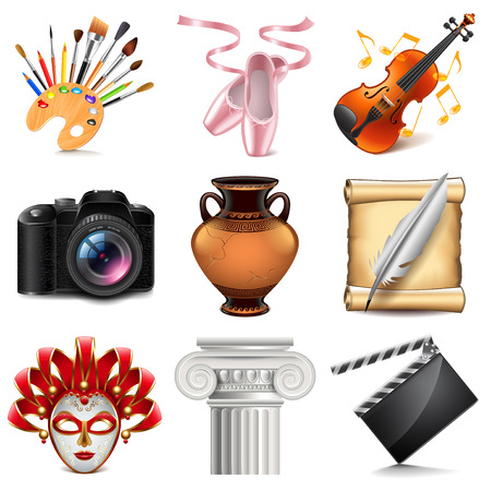 Art icons detailed photo realistic vector set Vettoriali