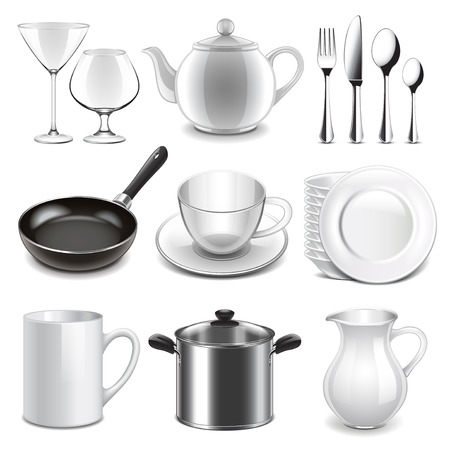 dish: Crockery icons detailed photo realistic vector set