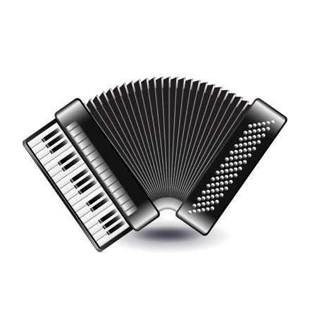 concertina: Accordion isolated on white photo-realistic vector illustration
