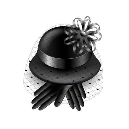 voile: Womans black hat with veil and gloves isolated vector illustration