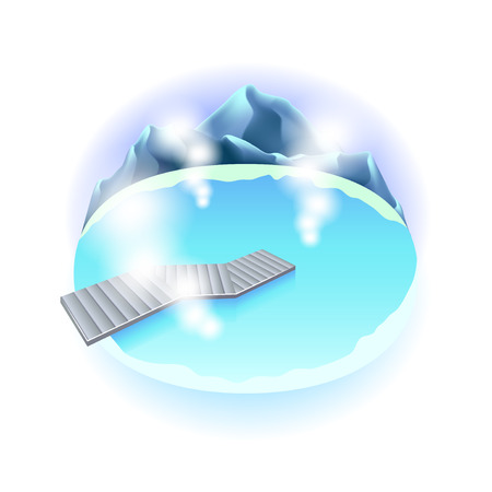 photorealistic: Hot spring in Iceland isolated photo-realistic vector illustration