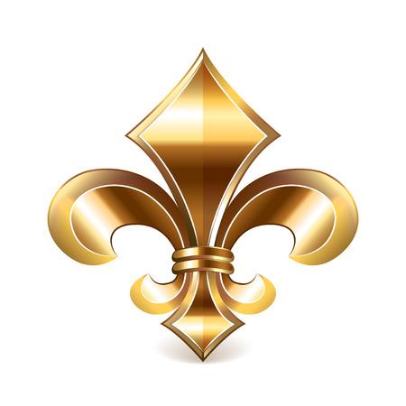 meta: Fleur de lis gold isolated on white photo-realistic vector illustration Illustration