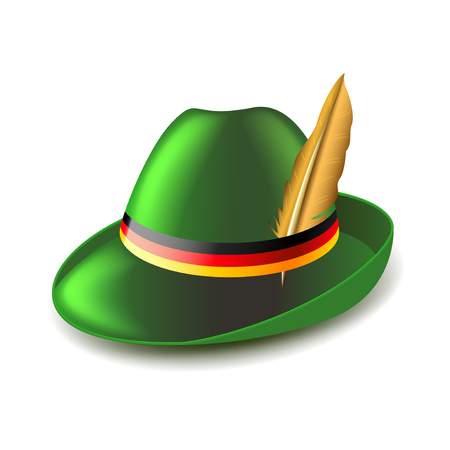 tirol: German green hat isolated on white photo-realistic vector illustration