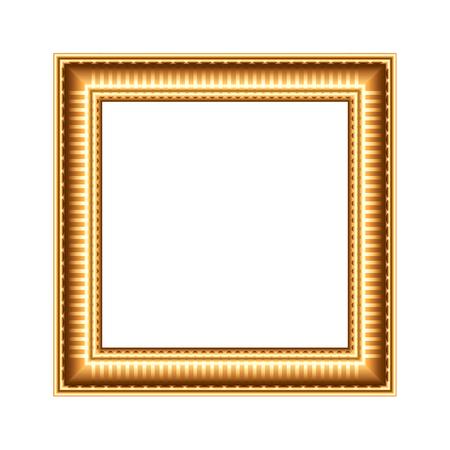 frame border: Golden art frame isolated on white photo-realistic vector illustration
