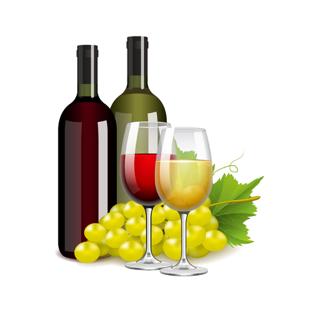 grapes in isolated: Wine bottles glasses and grapes isolated photo-realistic vector illustration Illustration