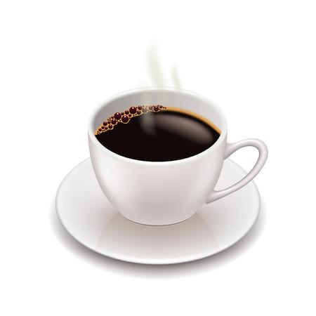 taza de café aislado en blanco ilustración vectorial foto-realista Ilustración de vector