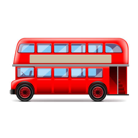 london bus: London bus isolated on white photo-realistic vector illustration
