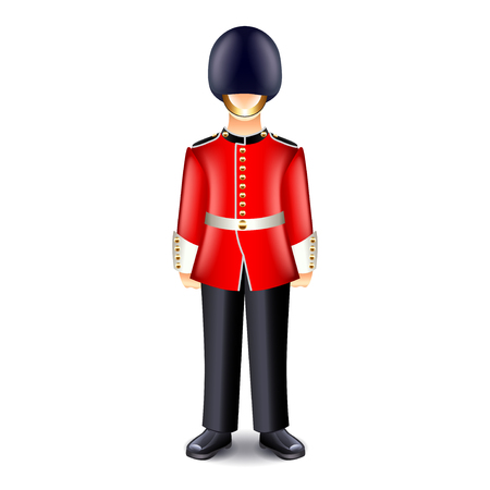 sentry: London guard isolated on white photo-realistic vector illustration