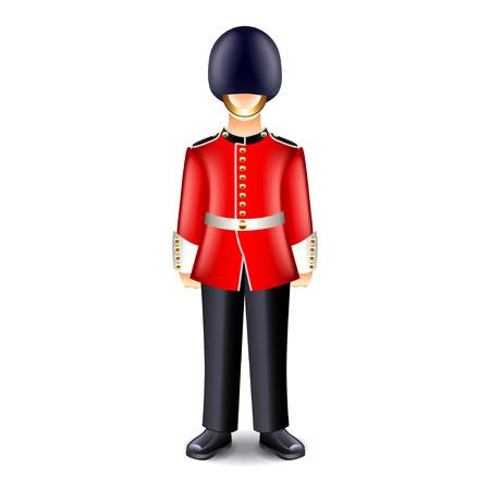 bayonet: London guard isolated on white photo-realistic vector illustration