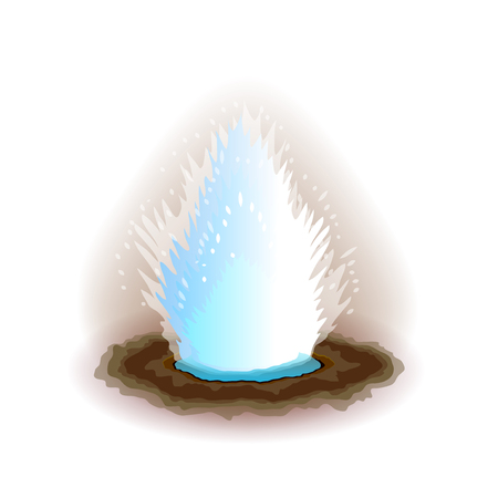 eruption: Geyser isolated on white photo-realistic vector illustration