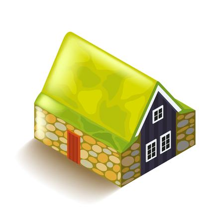 peat: Icelandic peat house isolated on white photo-realistic vector illustration Illustration