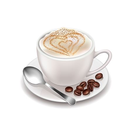 Cappuccino isolated on white photo-realistic illustration