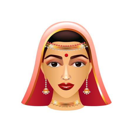 asian and indian ethnicities: Traditional indian woman isolated on white photo-realistic illustration Illustration