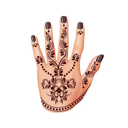 mehandi: Mehendi on woman hand isolated photo-realistic illustration