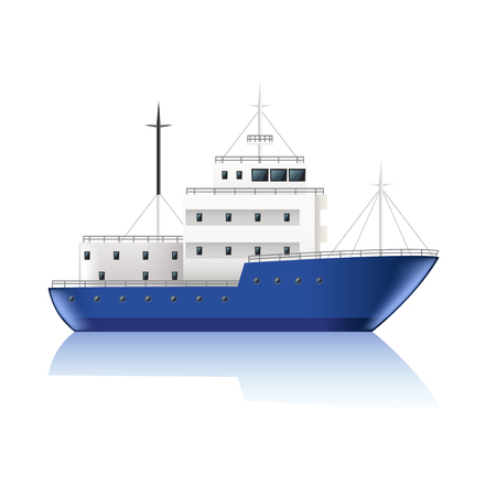 Small ship isolated on white photo-realistic illustration