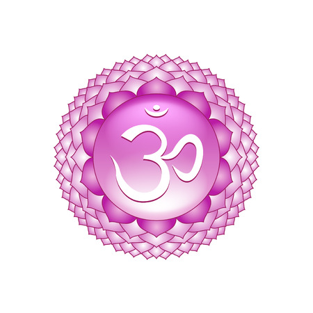 sahasrara: Sahasrara chakra symbol isolated on white photo-realistic illustration Illustration