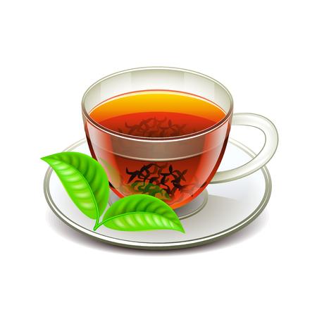 ceylon: Ceylon tea isolated on white photo-realistic illustration Illustration