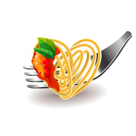 photorealistic: Spaghetti on fork isolated photo-realistic illustration