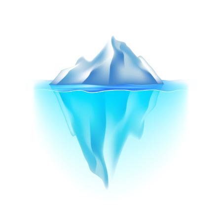 Iceberg samodzielnie na białym fotorealistycznych ilustracji Ilustracje wektorowe