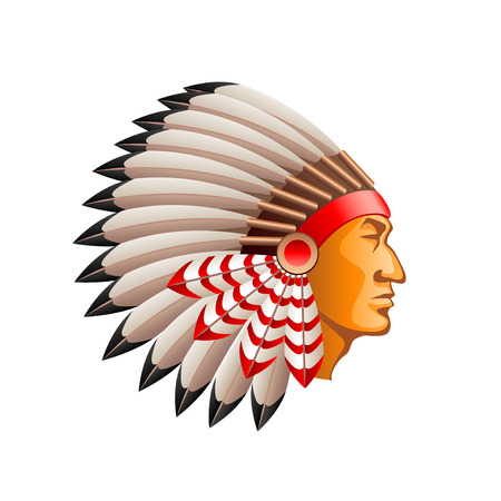 American indian chief isolated on white photo-realistic illustration