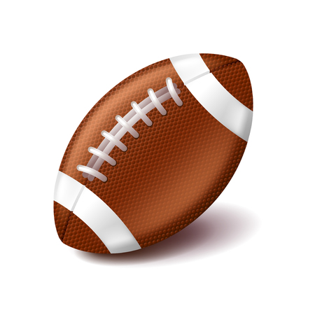 college footbal: American football ball isolated on white photo-realistic illustration