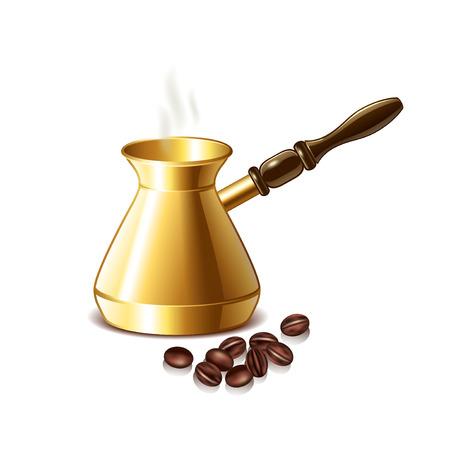 grano de cafe: olla de café retro y los granos aislados en blanco ilustración vectorial