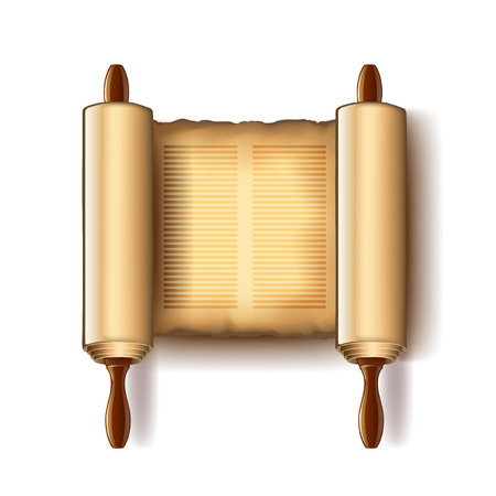 tora: Torah isolated on white photo-realistic vector illustration