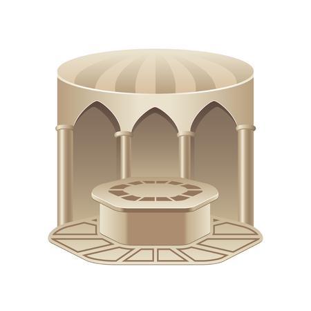 hammam bain turc isolé sur la photo-réaliste blanc illustration vectorielle