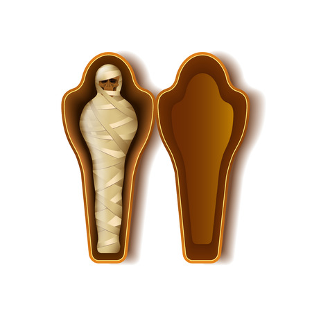 Momia en sarcófago aislado en blanco ilustración vectorial foto-realista Ilustración de vector