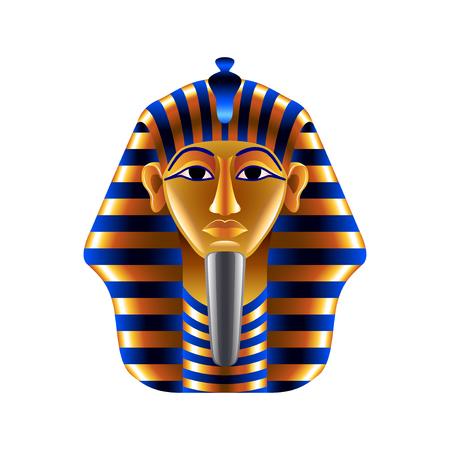 tutankhamen: Tutankhamuns mask isolated on white photo-realistic vector illustration