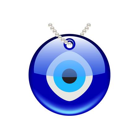 Amulette oeil turc isolé sur la photo-réaliste blanc illustration vectorielle Banque d'images - 53415933