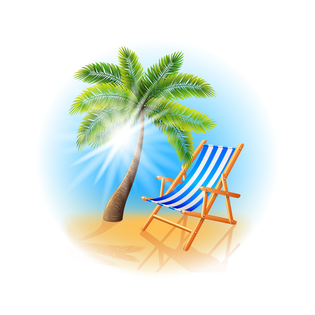 deck chair: Palm tree and deck chair isolated on white photo-realistic vector illustration Illustration