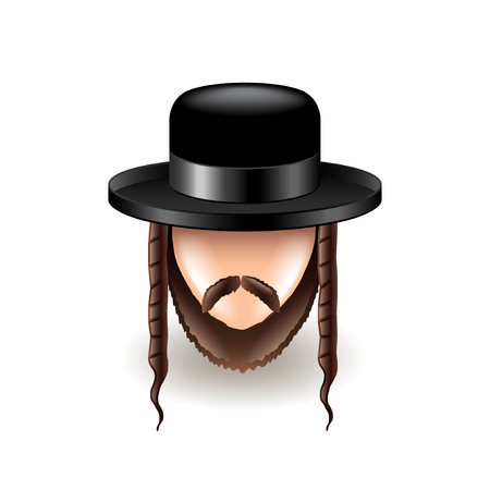 sideburns: Jew icon isolated on white photo-realistic vector illustration