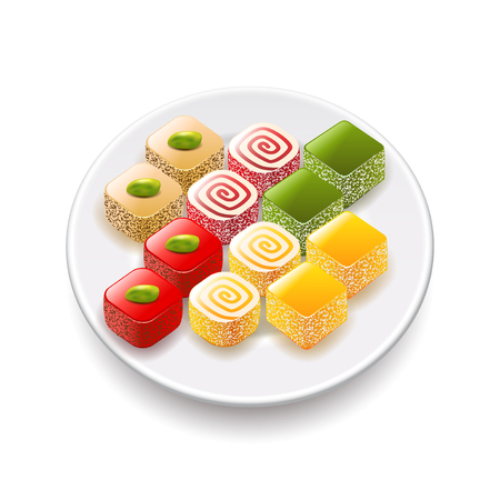 turkish delight: Turkish sweets isolated on white photo-realistic vector illustration