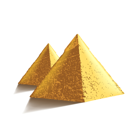 antiquities: Egypt pyramids isolated on white photo-realistic vector illustration Illustration