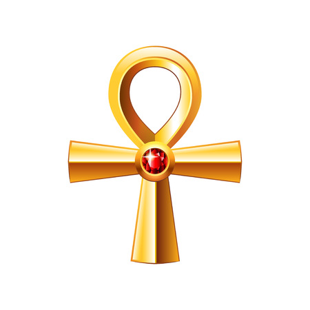 ankh: Egyptian cross ankh isolated on white photo-realistic vector illustration