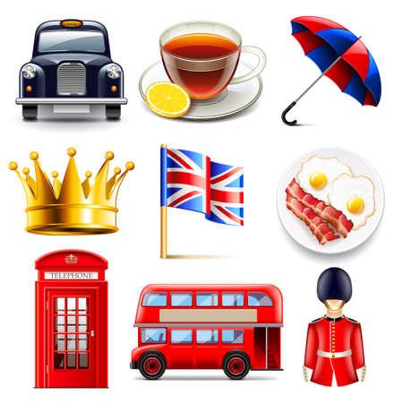 cabina telefonica: Inglaterra foto de los iconos detallada vector conjunto realista
